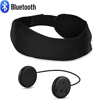 Bluetooth Headband Sleep Headphones, AGPTEK Bluetooth V4.1 Wireless Headband with Detachable Thin Speaker, Eye Mask for Sleeping, Sports, Air Travel, Snoring, Meditation & Relax Women Men, Black