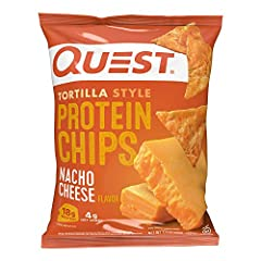 ENJOY MORE. CARB LESS: The Quest Nacho Cheese Tortilla Style Protein Chips provide all the crunch and satisfying taste of a regular tortilla chip. Only ours have 18g of protein and 4g net carbs per bag CRUNCH INTO COMPLETE PROTEINS: The Quest Nacho C...