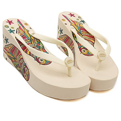 MedusaABCZeus Zapatos de Playa de Baño,Chanclas Plataforma Tacones de cuña, Sandalias de Playa y Zapatillas Mujer-Blanco_38,Piscina Sanitarios Sandalias Verano