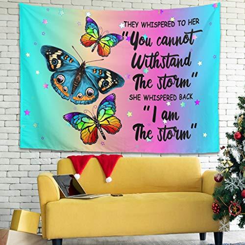 Tapiz de pared con diseño de mariposa, 150 x 150 cm, color blanco
