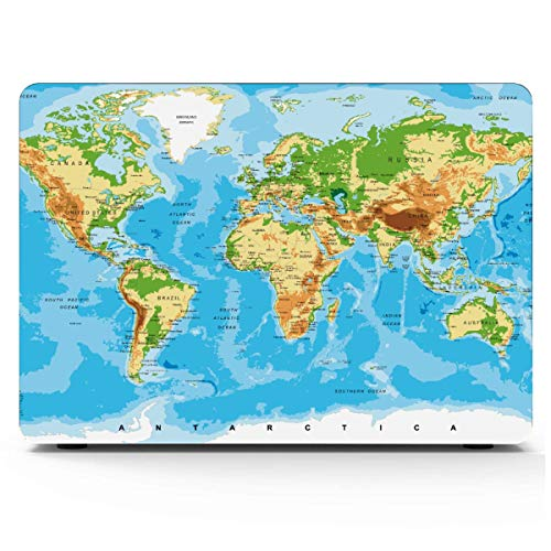 MacBook Pro 13inch Case Physical Map World MacBook Protector Hard Shell Mac Air 11'/13' Pro 13'/15'/16' with Notebook Sleeve Bag for MacBook 2008-2020 Version
