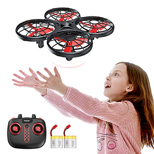 Tomzon D15 Hand Operated Mini Drone, Infrared Induction, Anti-Collision RC Quadcopter, 360° Flips UFO Drone Flying Toy, Hand Controlled Drone for Boys and Girls, 2 Batteries