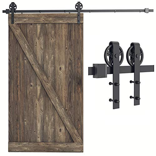 """SMARTSTANDARD 8 FT Heavy Duty Sliding Barn Door Hardware Kit, Black, Smoothly and Quietly, Simple and Easy to Install, Fit 48"""" Wide Door Panel (Industrial Bigwheel Hangers)"""