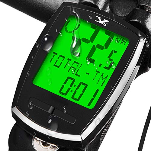 KASTEWILL Wasserdicht Fahrradcomputer Kabellos, Deutsch Fahrradtacho Drahtlos Tachometer Fahrrad LCD Backlight 6 Sprachen Radcomputer Wireless Kilometerzähler für Radsport Realtime Speed Track Distanz