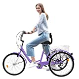 Adult Tricycles 7 Speed, Adult Trikes, Three Wheel Cruiser Bike Bicycle with 24-Inch Wheels and Large Shopping Basket for Women, Seniors, Men, Older (Purple)