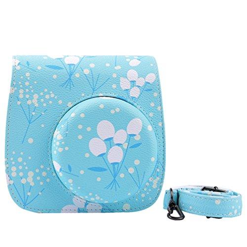 Yiiquanan Mini 8/9 Drucken Blume Sofortbildkamera Kameratasche Verschleißfest Tasche Kameraschutz Schutzhülle (Licht Blau, One Size)