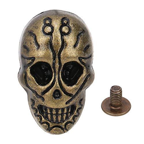 HEEPDD 20 Piezas Tachuelas de Calavera, cráneo Cruzado 3D Fantasma Remache espárrago Botones Decorativos Punk con 20 Piezas Tornillos para Bolsa cinturón de Cuero DIY fabricación(Bronce)