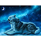 Alloet 5D DIY Full Drill Diamond Painting 2 Wolves Cross Stitch Embroidery Crafts