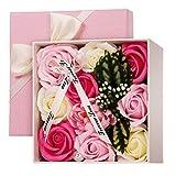 CNNIK Caja de Regalo de For de Jabón Rosa Artificial, Regalo de Decoración de Flor Corporal con Aroma a Pétalos de Rosa para Bodas, día de la Madre, día de San Valentín, día del Maestro (Rosa)