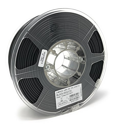 eSUN 3mm Black ABS+ 3D Printer Filament 1kg Spool (2.2lbs), Actual Diameter 2.85mm +/- 0.05mm, Black