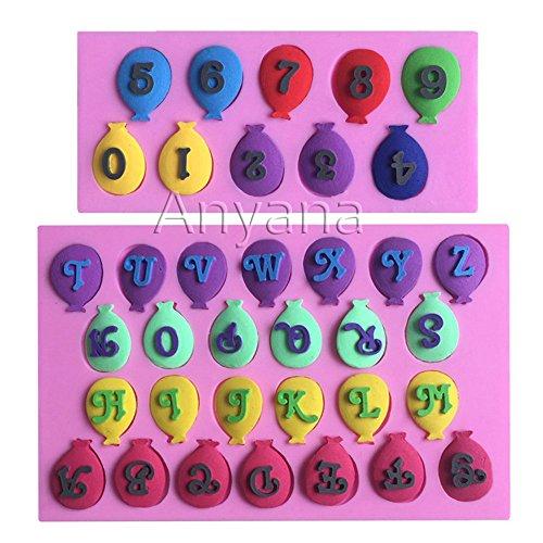 2pcs globo letras del alfabeto y números silicona para decorar con ...