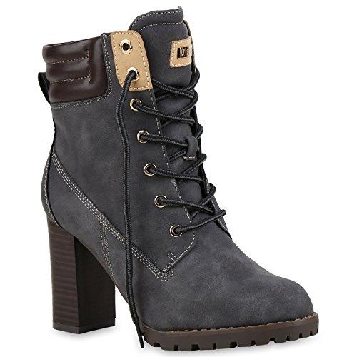 Damen Schnürstiefeletten Stiefeletten Worker Boots Wildleder-OptikHalbhohe Stiefel Schnürer Wildleder-Optik Schuhe 122663 Grau 36 Flandell