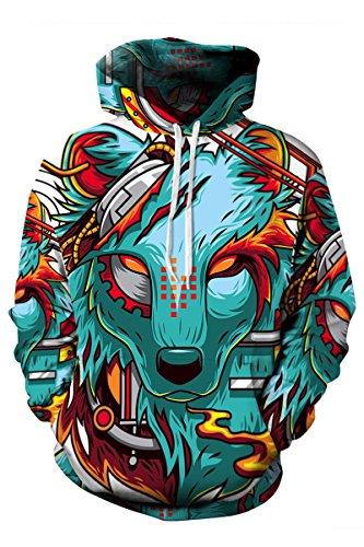 Haloon Unisex Realistic 3d Digital Big Pocket Pullover Hooded Hoodies Sweatshirt Cartoon Wolf S