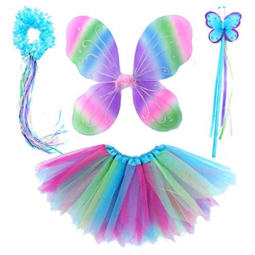 Danballto 4 pc-mädchen-fee-flügel-schmetterlings-kostüm-set mit flügeln, tutu, wand & halo einheitsgröße bunt