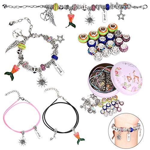 Queta Charm Armband Kit DIY Armbänder 71 Zubehör Schmuck Bastelset, Teenager Mädchen Geschenke 6-12 Jahre (6 Kette)