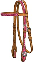 Tough 1 Western Headstall Azalea Leather Browband Tack Pink 45-79