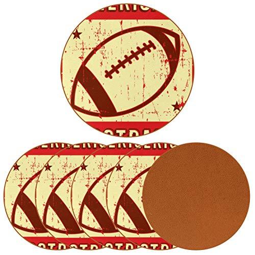Paquete de 6 posavasos para bebidas, diseño retro de fútbol americano, rugby, deporte, estilo retro, pop, vacaciones, decoración de bar