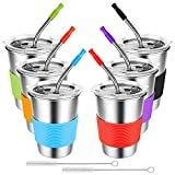 EXTSUD Kids Cups with Straws Spill Proof, 6 Pack 12 oz. 304 Stainless Steel Unbreakable Reusable Water Drinking Tumblers with Lids and Sleeves, BPA-Free Colorful Stacking Sippy Cups for Toddler, Adult