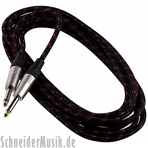 RockCable RCL 30206 TC instrumentenkabel (stoffen mantel) jack - plug 6m, zwart