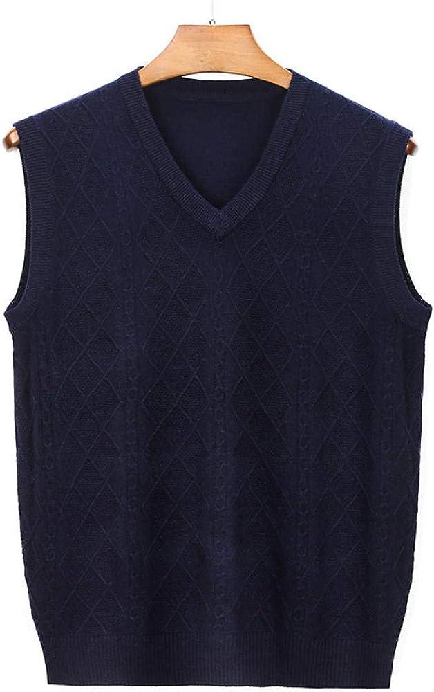 Men's V-Neck Sleeveless Vest Business Sweater Gilet Knitwear Cardigans Knitted Waistcoat Pullover Tank Top