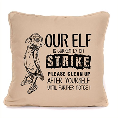 Harry Potter Gift 'Dobby The Elf On Strike' Quote Design Throw Pillow Piped Cushion with Pad | Perfect Birthday Present for Fans,Friends,Family | 18 x18