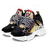 Femmes High Top Chunky Baskets Plateforme Sports Casual Respirant Doux Flats Lace Up Épais Bas Athlétique Maille Clunky Baskets Chaussures