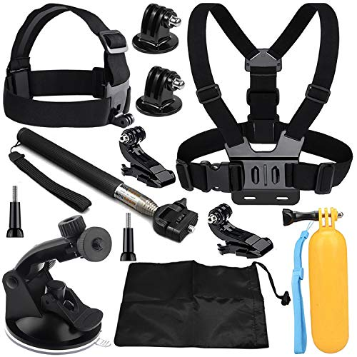 VVHOOY 9 in 1 Universal Action Camera Accessory Bundle Kit Compatible with Gopro Hero 8/7/6/5/AKASO EK7000/Brave 4/5/6/V50/APEMAN/Dragon Touch/Crosstour/Victure/Campark ACT74 Waterproof Action Camera