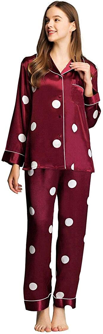 LONXU Oklahoma City Mall Womens Satin Seattle Mall Pajama Set Button Down Pj Sleepwear XS-3 Long