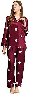 LONXU Conjunto de pijama de satén para mujer, con botones, pijama largo XS-3XL