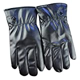 Nikgic PU warme Handschuhe Fingerhandschuhe Wasserdicht Touchscreen Handschuhe 23 * 13cm (Schwarz)
