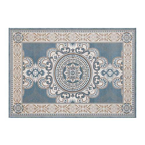 Awningcranks Teppich Modern Design Rechteck Jacquard Teppiche gedruckt Teppich leichte luxuriöse Matte for Wohnzimmer Schlafzimmer (8 mm Dicke) 1214 (Color : Blue, Size : 140X200cm)