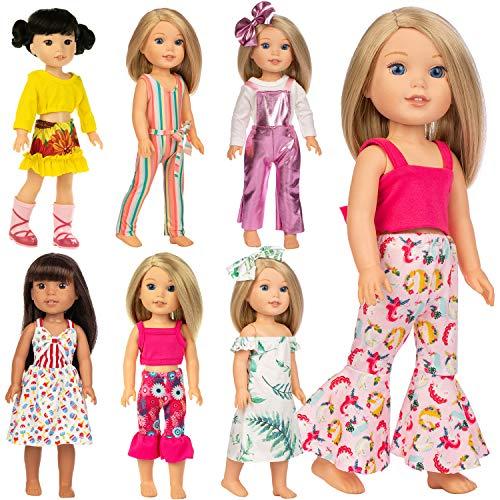 ZITA ELEMENT 7er Puppenkleidung für 36cm 37cm Puppenkleider und 14,5 Zoll American Girl Bekleidung Mode-Neuheit