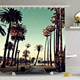 changchuan Duschvorhänge, 183 x 198 cm, City Los Angeles, Downtown Park View Palmen California Urban Day Wasserdichter Stoff Badezimmer Home Decor Set Haken 167,6 x 182,9 cm
