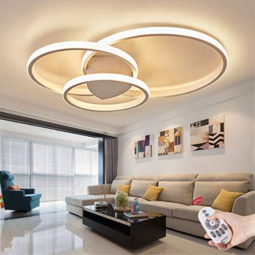 Acryl Deckenleuchte schmiedeeiserne runde Wohnzimmerlampe LED Modern Design Deckenlampe Metall Kronleuchter für Esszimmer Küche Schlafzimmer Bad Decke Leuchten Weiß 54W Three circles