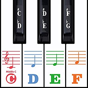 Kids Piano Keyboard Stickers for 88/61/54/49/37 Key Colorful Large Bold Letter Piano Stickers Perfect for kids Learning Piano Multi-Color,Transparent,Removable