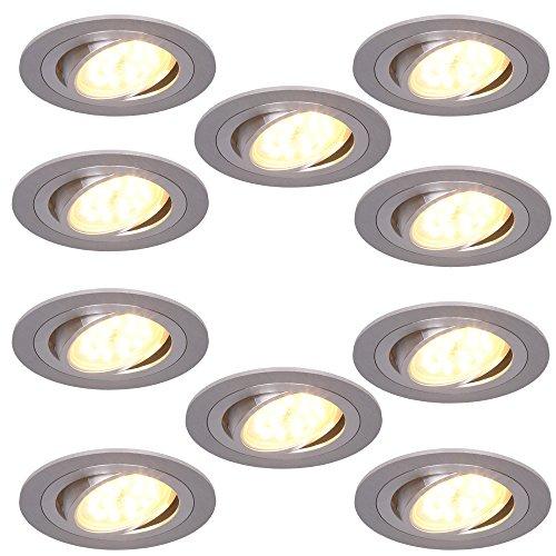 Einbaustrahler 5W LED 10er Set rund | Einbauleuchte Alu | Einbauspot schwenkbar 3fach dimmbar | Decken-Einbaustrahler 3000K | Einbaulampen modern | Deckenspot Switchmo + LED-Leuchtmittel