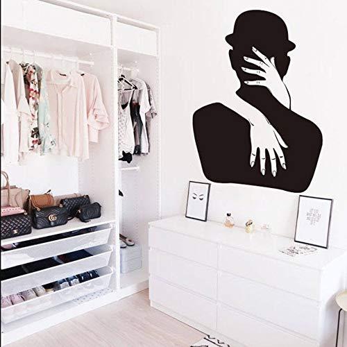 Abrazo Beso Pareja Etiqueta de la pared Amor romántico Decoración de la boda Diseño de beso sexy Pareja Vinilo Tatuajes de pared Vinilo extraíble Art Deco Etiqueta de la pared A7 57x79cm