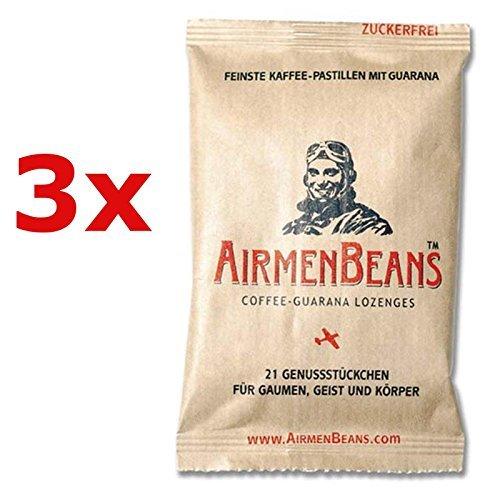 AirmenBeans Airmen Beans Kaffee Pastillen mit Guarana 63 Stück, 3xDE1001 by AirmenBeans