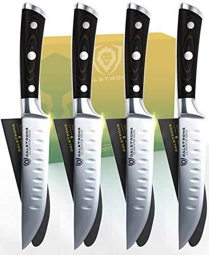 DALSTRONG Steak Knives - Gladiator Series - Forged German ThyssenKrupp HC Steel (4-Piece Set Straight-Edge)