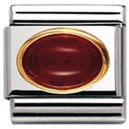 Nomination Composable Classic Edelsteine OVAL aus Edelstahl und 18K-Gold (ACHAT ROT) 030502