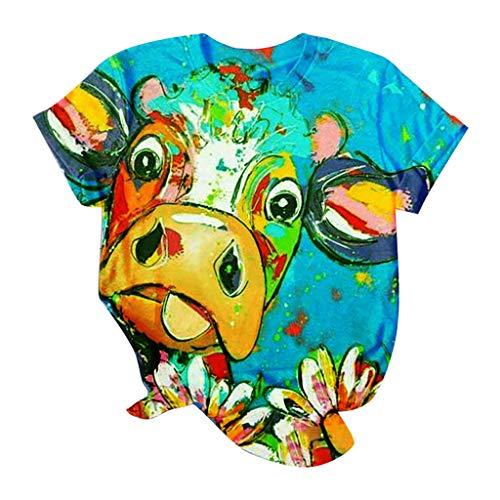 Damen 3D T-Shirt Tire Muster Druck Sommer Beiläufige Kurzarm T-Shirts T-stücke Rundhals Tshirt Katzen Sonnenblume Giraffe Katze Schwanz Hund Kuh Muster Oberteile Bluse Shirts Tops S-4xl