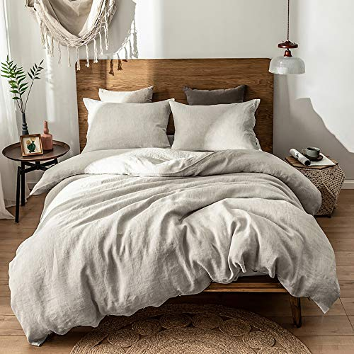 "Simple&Opulence 100% Linen Duvet Cover Set, 3 Piece Belgian Flax Breathable Bedding, King Size-104""x 92"" (1 Comforter Cover+2 Pillowshams) with Coconut Button Closure-Natural Linen"