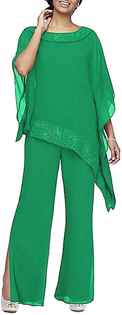 Women's Elegant Green 3 Pieces Pant Suits Set Chiffon Mother of The Bride Dress with Outfit Wedding Party US16