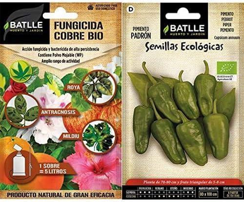 Semillas Batlle Fitosanitarios Ecológicos - Fungicida Cobre Eco sobre para 5L + Ecológicas Hortícolas - Pimiento Padrón