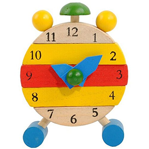 Clock Educational Toys, OULucicy Baby Kid Children Hand Made Wooden Clock Toys for Kids Learn Time, Best Christmas Gift (US local warehouse, served within 7 days)