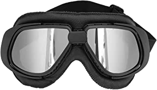 Cycling Glasses - Motorcycle Supplies Motorcycle Goggles Cycling Outdoor Glasses Motorbike Goggles (Black+Silver, Black, Brown) (Color : Black)