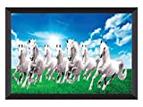 Material: High quality synthetic frame painting Item Size: 14 inches X 20 inches Usage: It can be used for living room, home decor and for gifting purposes easy to hang and easy to clean to dry cloth 7 running horses, horses ,vastu running horse,seve...