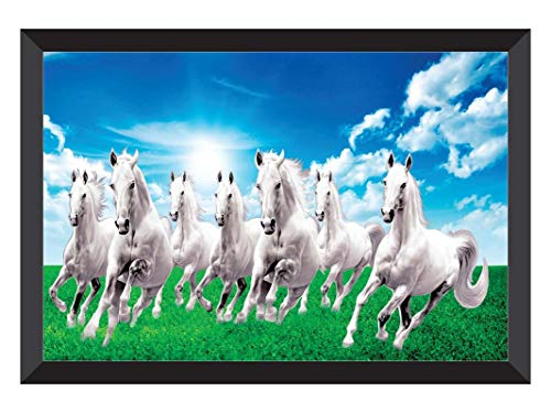 SAF 7 Running Horses Sunrise Vastu UV Coated Home Decorative Gift Item Framed Painting 14 inch X 20 inch SANFH10