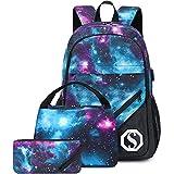 CAMTOP School Backpack Galaxy Laptop Backpack Teens Bookbag Set Lunch Bag Pencil Case for Girls Boys