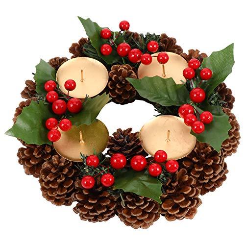 ABOOFAN Corona de Adviento de Navidad con Frutos Rojos Y Piñas 22Cm Calendario de Adviento Temporada Candelabro para La Decoración del Hogar de Vacaciones de Navidad